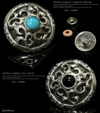 【diosbras-ディオブラス-】【送料無料!!】【品番i&j】ターコイズ アラベスク透かし彫りコンチョ 【M】 シルバー925コンチョ (ネジ式)