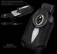 【diosbras-ディオブラス-】本革スティングレイ エイ革 スティングレー アイフォンケース スマートホンケース シンプル携帯(モバイル)ケース /シガレット デジカメ i-phone6s対応 ケース【EI】