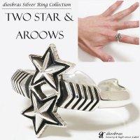 リング スター|星|二ツ星|ダブルスター|立体的 シルバー925  アロー 矢 シルバーアクセサリー 指輪 リング /フリーサイズ インディアンジュエリー/シルバー/ネイティブ系 イーグル メンズ シルバーリング 指輪 シルバー925 メンズアクセサリー