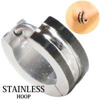 ステンレス フープピアス シルバー 金属アレルギー対応 メタル素材 シンプル 小さめ フープ ループ リング 輪っか ピアス  メンズ アクセサリー レディース 中折れ式 10mm