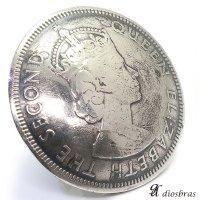 リアルコイン 1960年 香港コイン 1ドル硬貨 エリザベス2世 ライオン大 QUEEN ELIZABETH THE SECONDコインコンチョ ネイティブ コイン インディアン シルバー925 コンチョ 財布 ウォレット メンズ (ネジ式)【メール便なら送料無料!!】