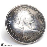 コイン 1981年 オーストラリアコイン エリザベス2世 QUEEN ELIZABETH THE SECONDコインコンチョ ネイティブ コイン インディアン シルバー925 コンチョ 財布 ウォレット メンズ (ネジ式)【メール便なら送料無料!!】